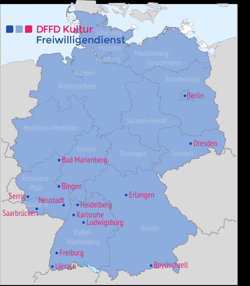 DFFD Kultur Freiwilligendienst: Übersicht von Städten der Einsatzstellen in Deutschland